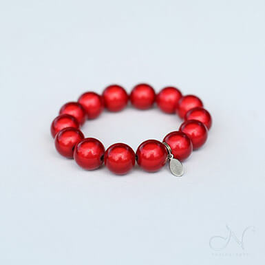 glowbeads light reflecting red bracelet